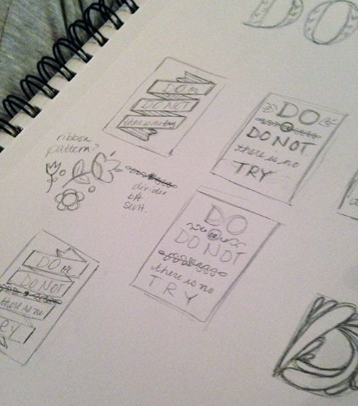"Initial thumbnail sketches (layout ideas only...well, there's a ""D"" over in the corner). These are just a few; my sketchbook is a sacred and scary place :)"