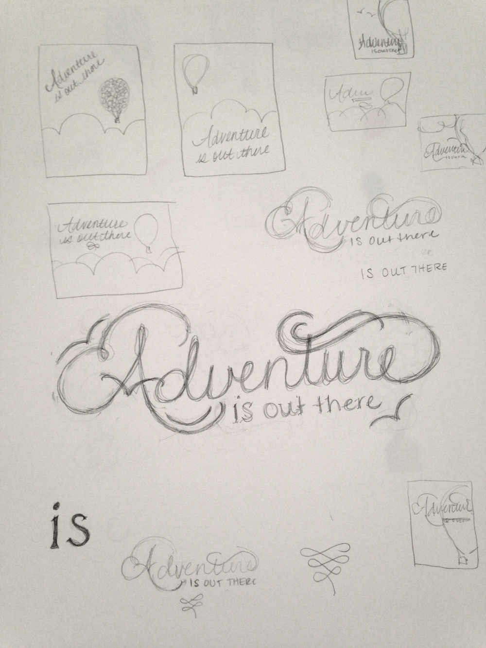 Here are loads of initial thumbnail sketches, and my original thought for the lettering. It's pretty but also kind of blah, which is why I pushed myself to make....