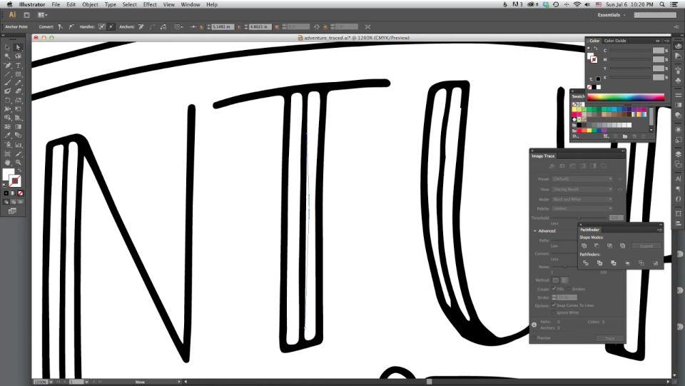 Doing some clean-up in Illustrator. Whoa, lines!