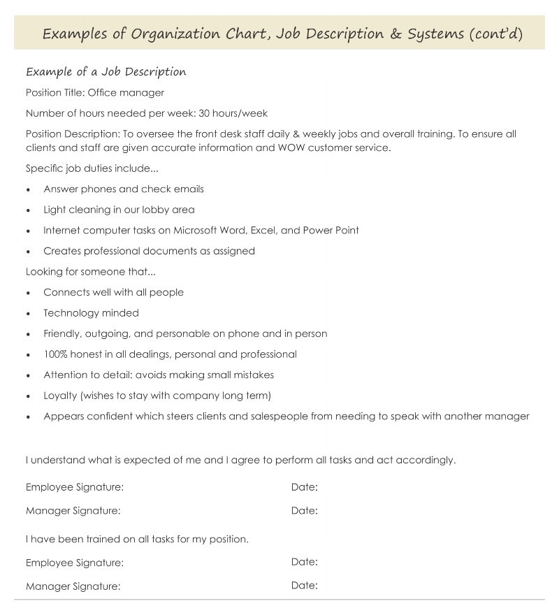 An example of a job description you could send to potential employees. Business systems and organizational charts.