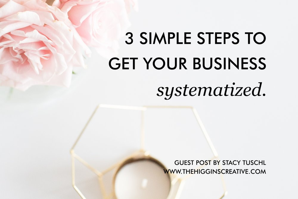 3 simple steps to get your business systematized to take on new employees, VAs and stay organized and productive.