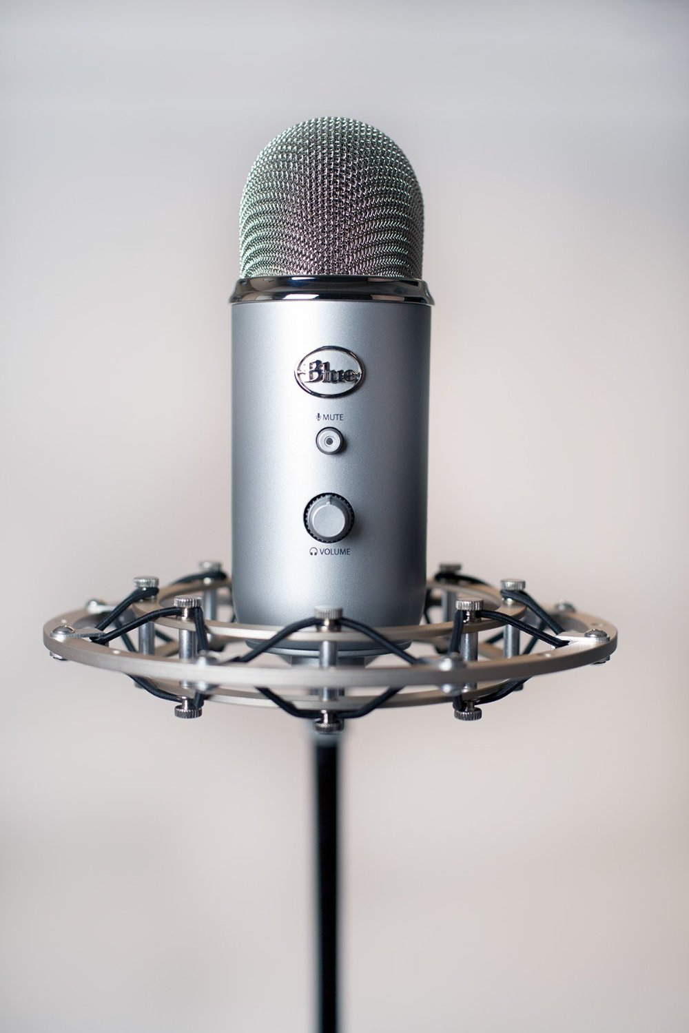 Shock mount by Blue A great recording can be ruined by vibration picked up through the table your mic is sitting on. This shock mount absorbs all of that vibration and isolates your mic, so that you get a clean recording. Definitely a must.