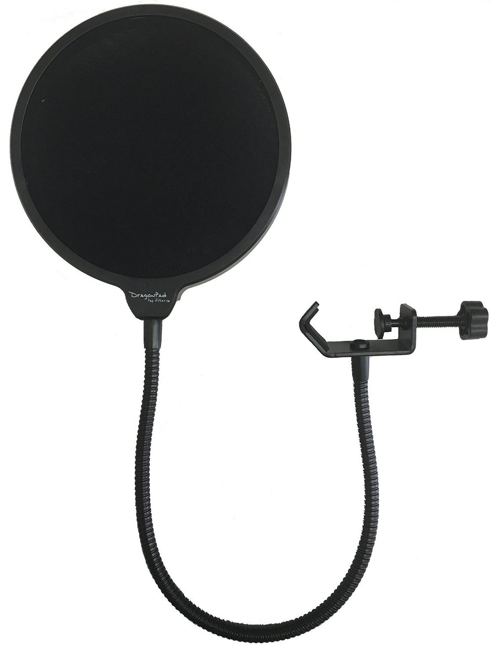 "Dragonpad Pop Filter Save your audience from wincing every time you say a word with a ""P"" in it. Using a pop filter stops those ""p-pops"" and makes post-production a ton easier. This is the one we use on your Yeti!"