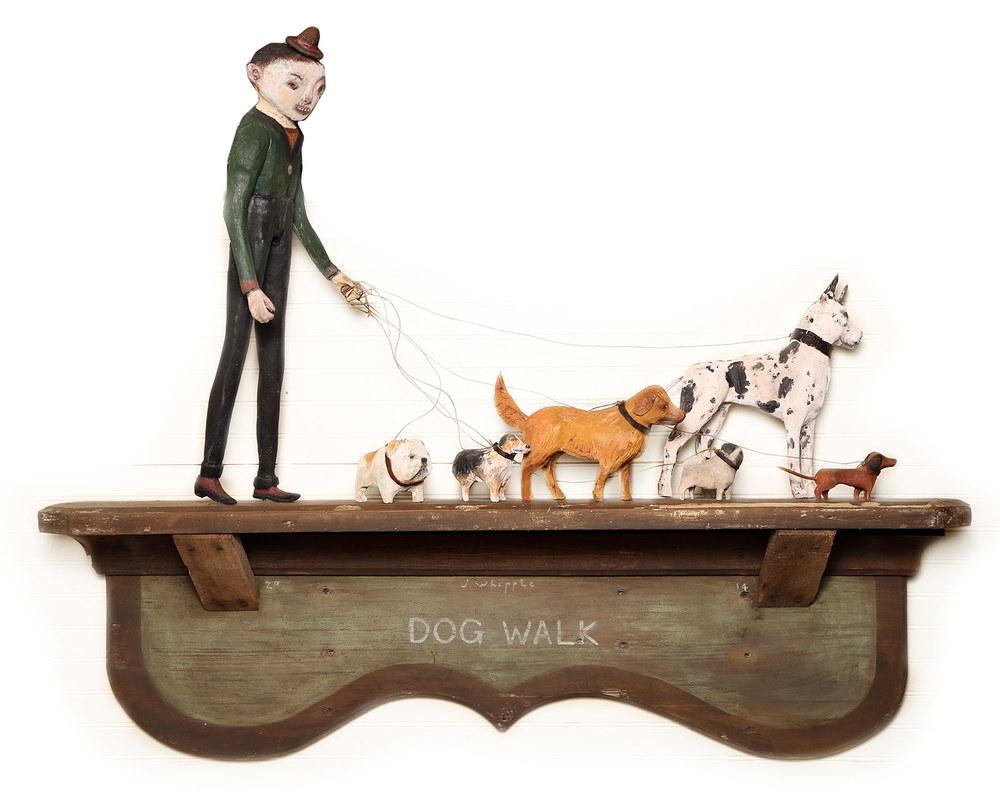 Red Truck Gallery Dog Walk by John Whipple