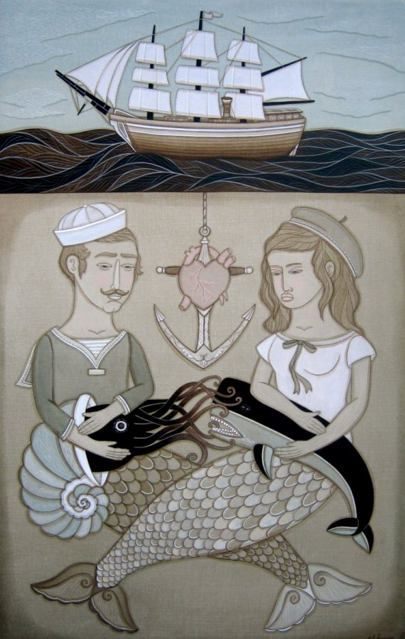 Heart Hooked And Anchored Print by Evan B Harris