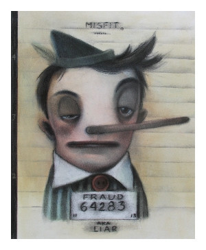 Liar Mugshot Misfit Print by John Whipple