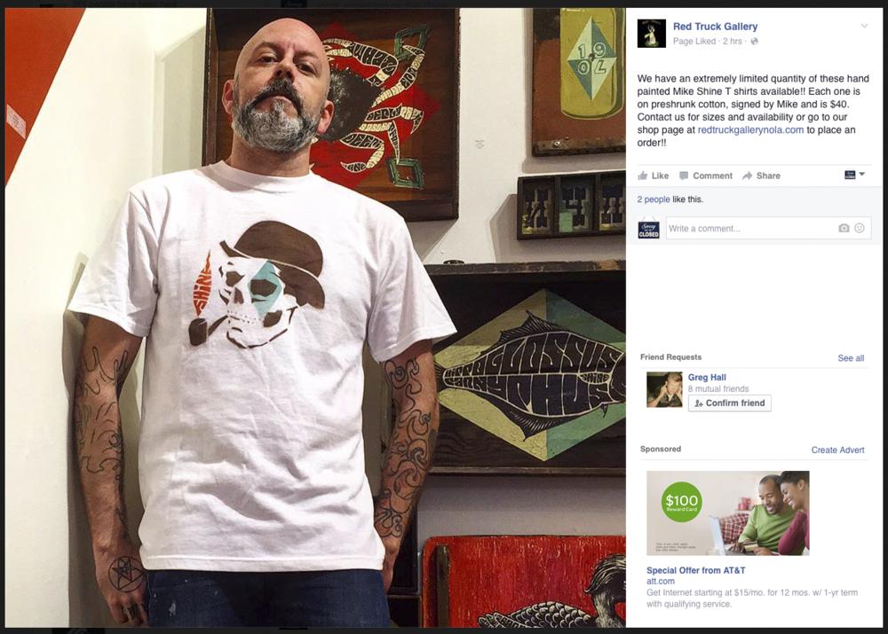 Gabriel Shaffer hawking T-shirt's on stolen website