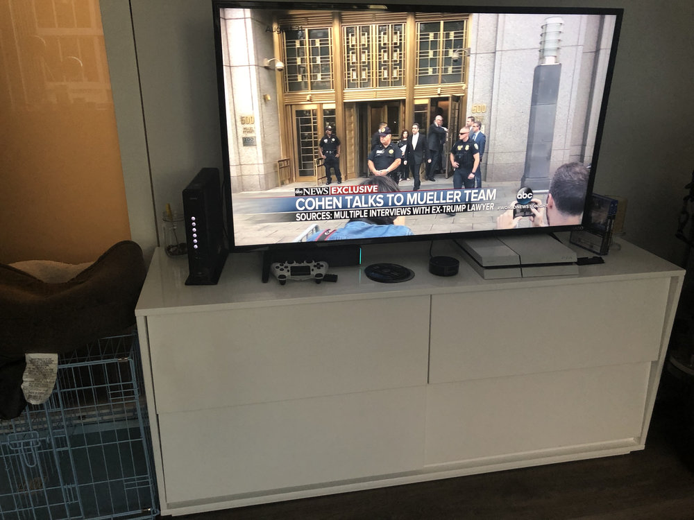 Smart TV - 55 inches  Originally $360 form Costco Yours for $100  CB2 Console  - Originally $699 Yours for $100