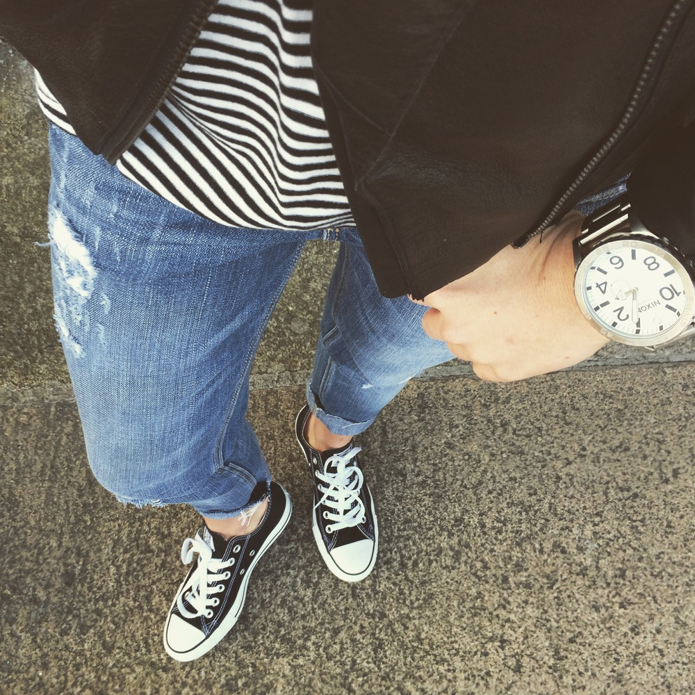 Converse | Hollister Jeans | Asos Jacket | Madewell Tee | Nixon Watch