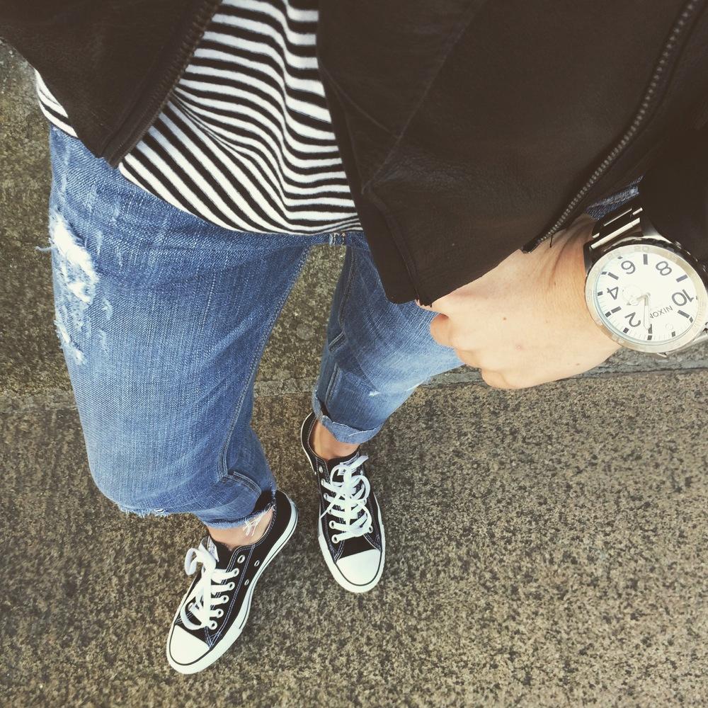 Converse | Hollister Jeans | Asos Jacket | Madewell Tee | Nixon Watch