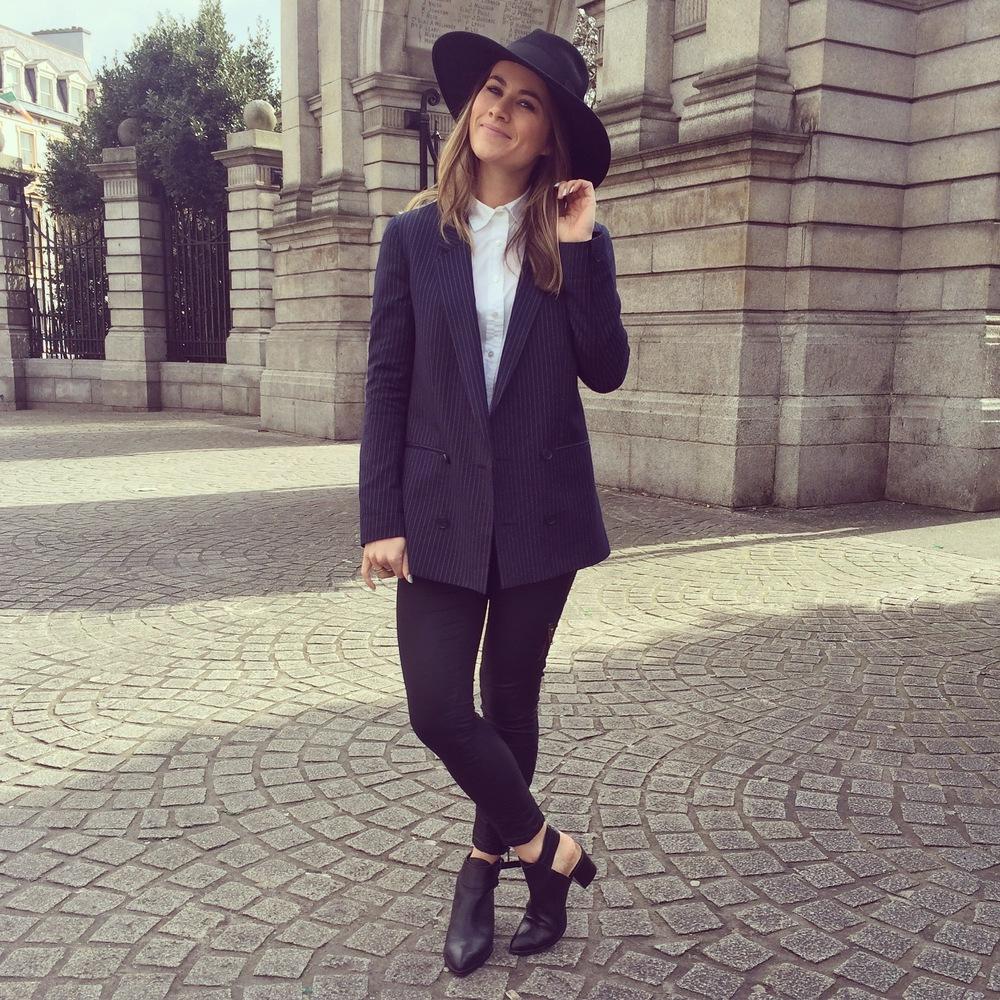 Topshop Blazer | J. Crew Shirt | Asos Hat | Topshop Pants | Zara Cutout Boots