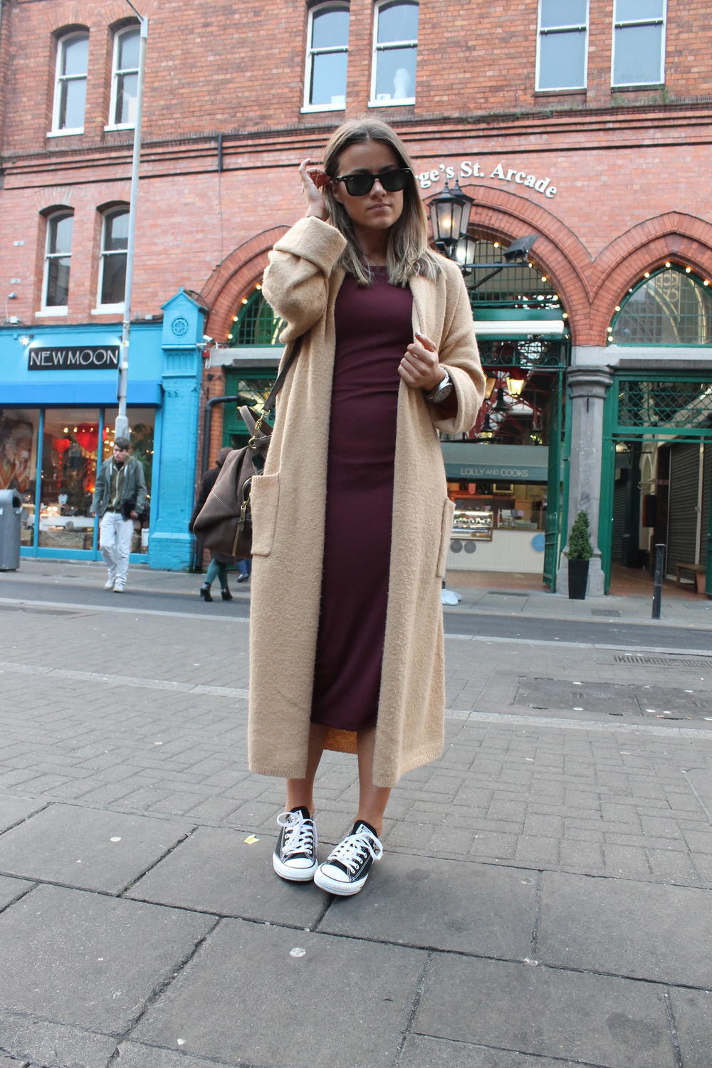 Cardigan: Paul Costello Dress: H&M Sneakers: Converse Bag: J. Crew Watch: Nixon Shades: Ray-ban