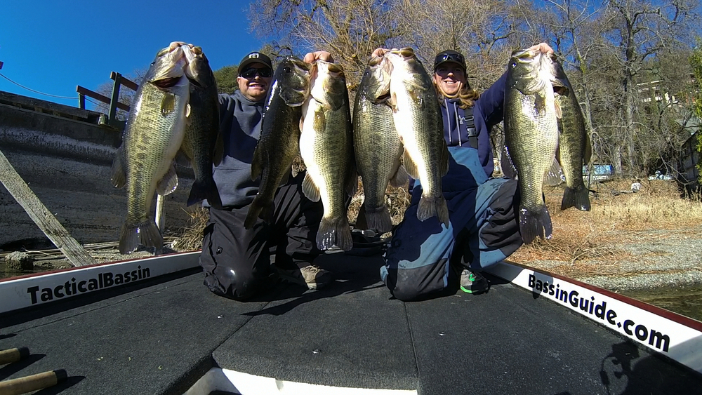 Tim Little and Matt Allen, co-owners of Tactical Bassin, with a sack of big Clearlake bass