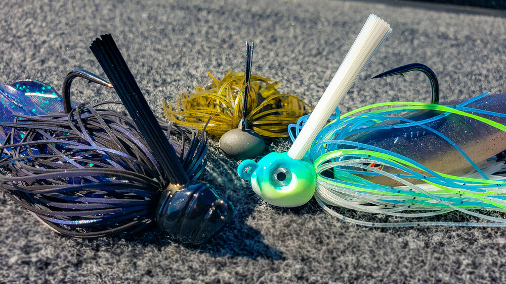 3 Black Blue 3//8 oz Football Jigs with matching Craw trailers