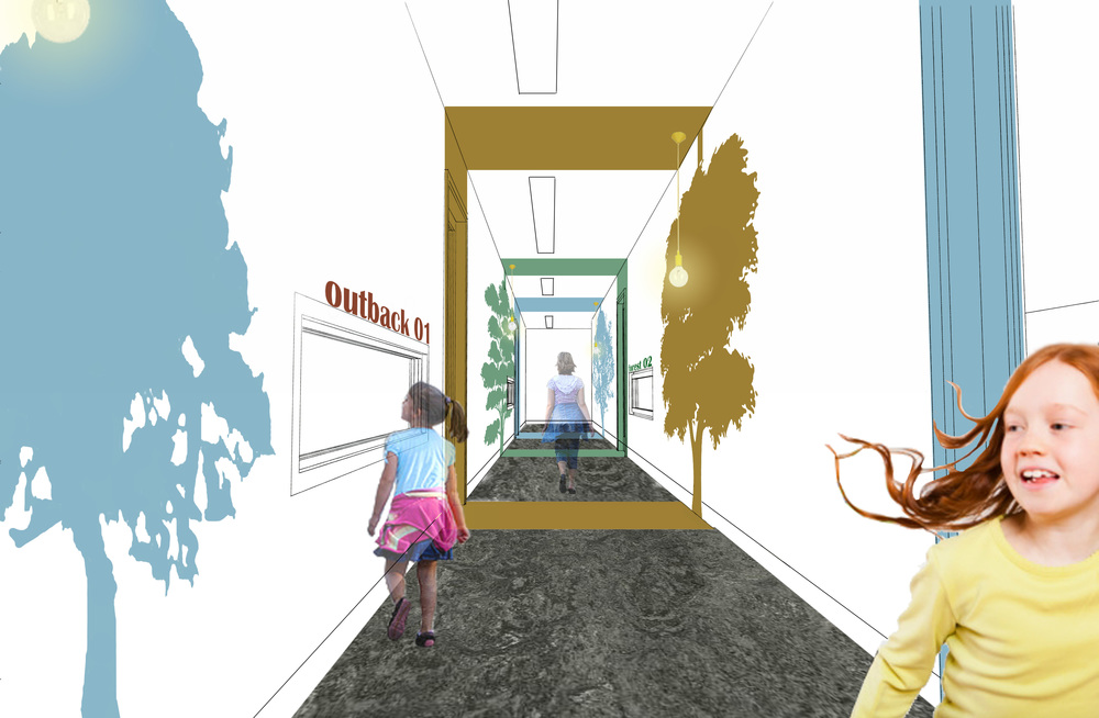 corridors are a challenging part of large childcare centres - windows at child height help to bring natural light into the corridor as well as create interest for children and parents as they make their way to their rooms