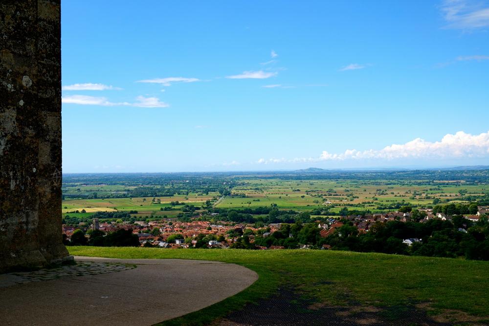 overlooking the town of Glastonbury