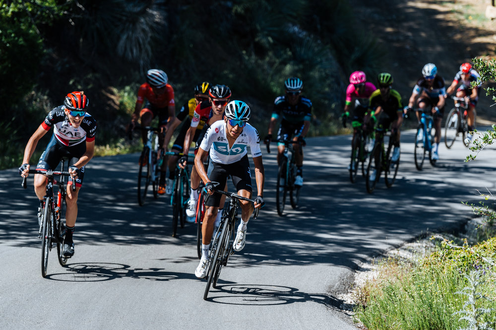 Team Sky rider Egan Bernal makes the breakaway move during the final kilometers of Stage 2 of the 2018 Amgen Tour of California.  Bernal went on to win the stage and eventually the entire race.  Photo / Greg Mionske