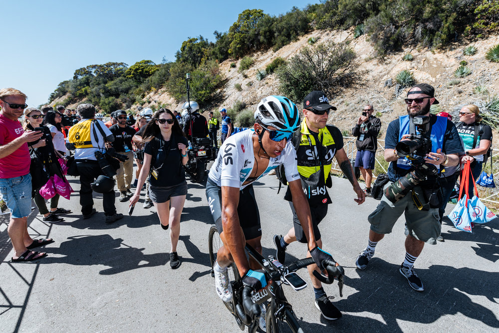 Team Sky Rider Egan Beral depleted atop Gibraltar Road after winning Stage 2 of the 2018 Amgen Tour of California.  Photo / Greg Mionske