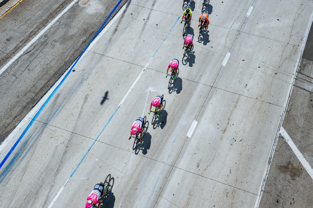 A bird's eye view of Stage 1 of the 2018 Amgen Tour of California.  Bird included.  Photo / Greg Mionske
