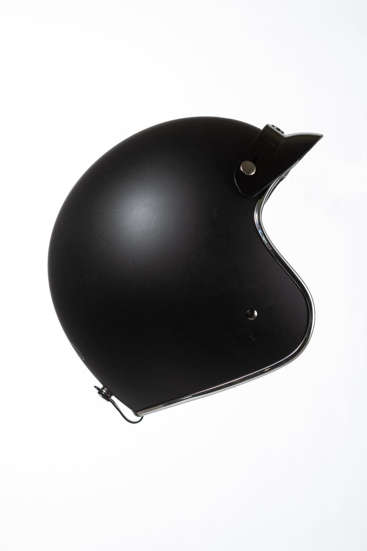 Café Racer helmet. Notice the lack of horns. Photo / Greg Mionske