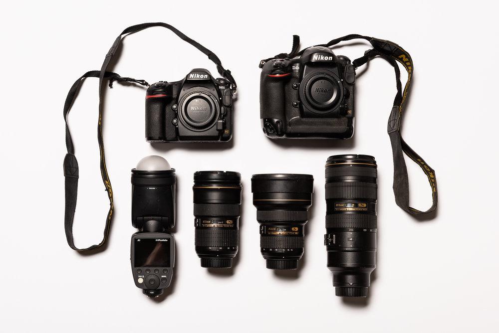 Motorbike essentials include the Nikon D850, Nikon D4s, Profoto A1, Nikon 24-70mm ƒ/2.8, Nikon 14-24mm ƒ/2.8, Nikon 70-200mm ƒ/2.8. Photo / Greg Mionske