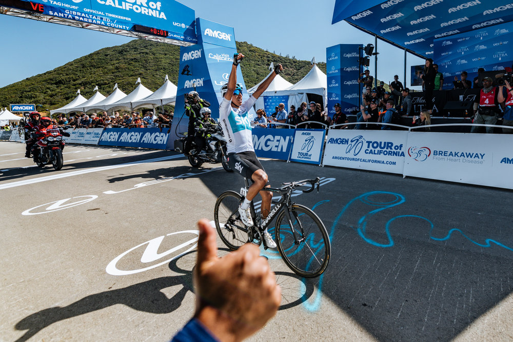 Team Sky Rider Egan Bernal celebrates his victory as he crosses the finish line of Stage 2 of the 2018 Amgen Tour of California.  Photo / Greg Mionske
