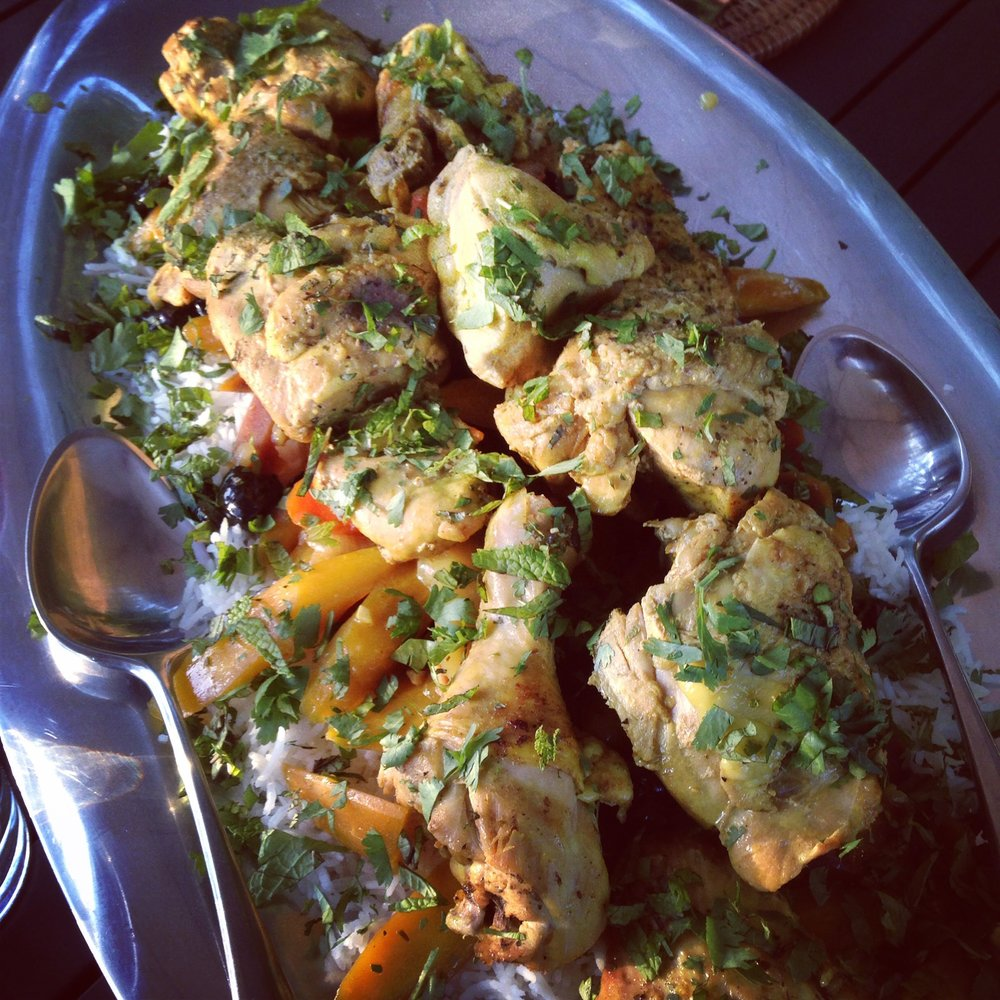 Moroccan Braised Chicken with Olives & Carrots over Rice