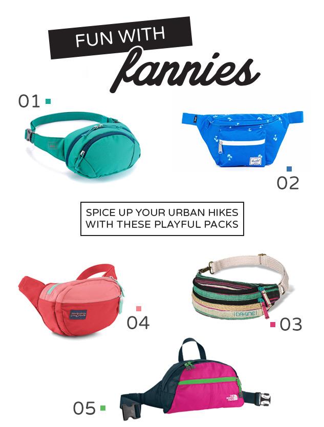 01. REI Urbane Waist Pack| 02. Herschel Seventeen Hip Pack| 03. Dakine Women's Gigi Fanny Pack| 04. Jansport Fifth Avenue| 05. The North Face Roo II Lumbar Pack