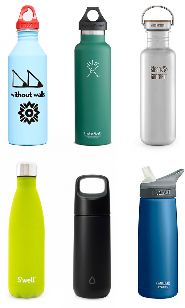 01.  Mizu X Without Walls Trail Eyes Water Bottle  | 02.  Hydro Flask Standard-Mouth Vacuum Bottle  | 03.  The Reflect  by Klean Kanteen | 04.  Stone Collection  by S'well | 05.  KOR Vida  | 06.  eddy™ Stainless Insulated  by CamelBak