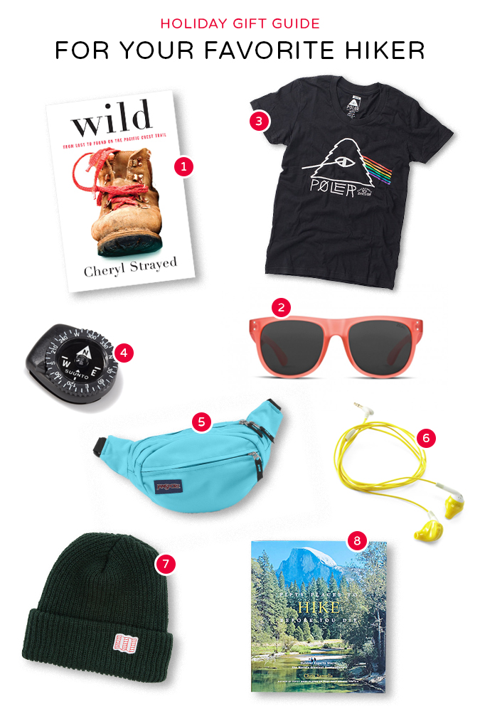 01. Wild: From Lost to Found on the Pacific Crest Trail by Cheryl Strayed  02. Ace Sunglasses by Zeal Optics 03. Psychedelic T-Shirt by Poler 04. Compass by Suunto 05. Waist Pack by Jansport 06. Inspire Earbuds by Yurbuds 07. Watch Cap by Topo Designs  08. Fifty Places to Hike Before You Die by Chris Santella