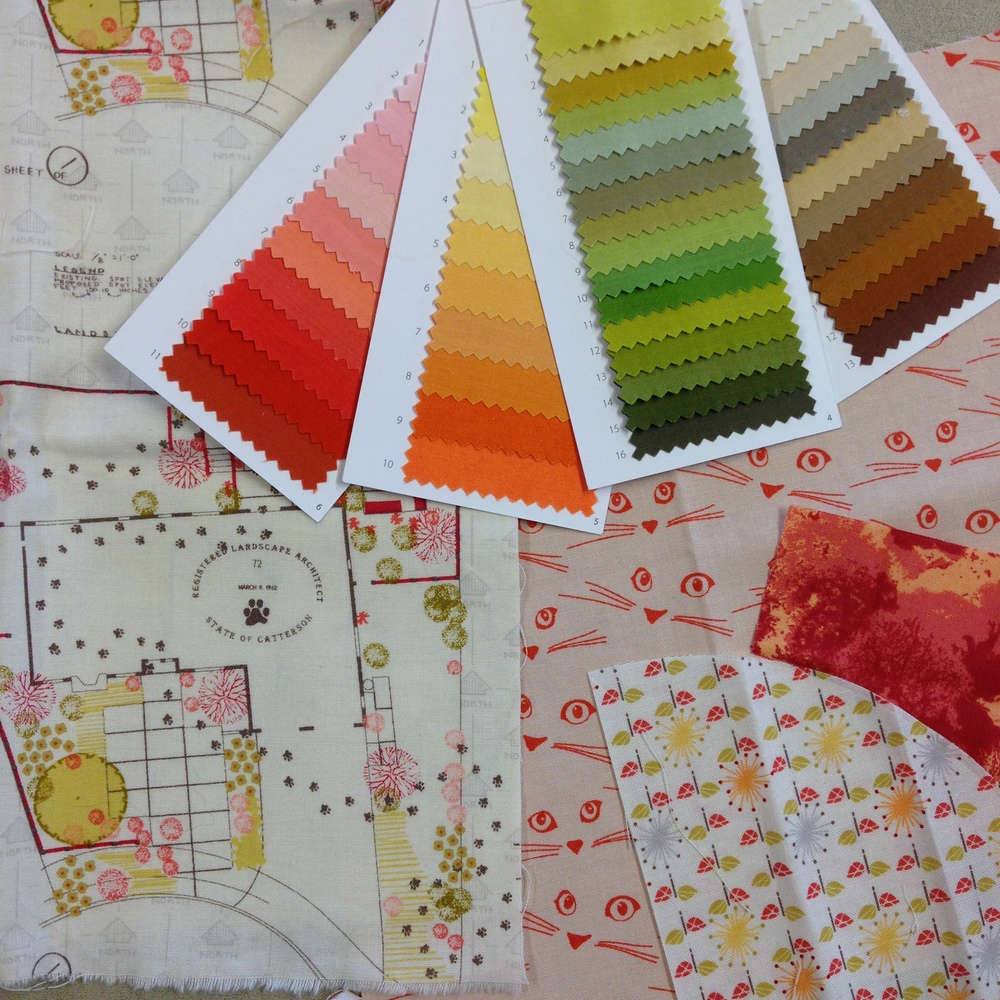 "The ""citrus"" range with Michael Miller Cotton Couture color cards for reference."