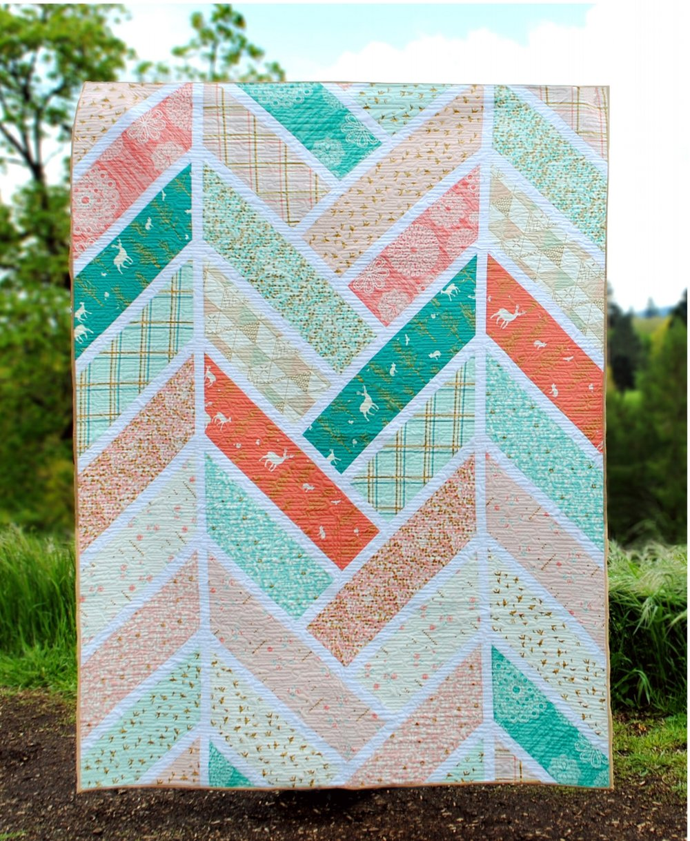 Fabric used is the Mint/Blossom colorway from Brambleberry Ridge by Violet Craft for Michael Miller Fabrics.
