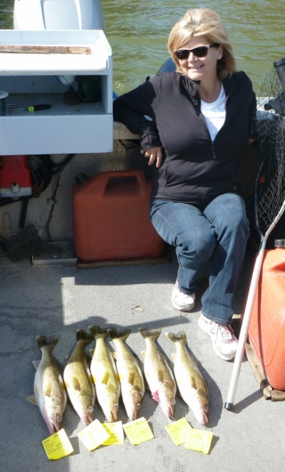 Janice Covin with a few Walleye for dinner