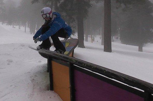 Eleanore Guthrie board-sliding an S-box at Mt. High, CA circa 2009