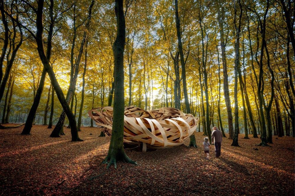 Steam bent woodland nest Kirsti Davies and Giles Thaxton