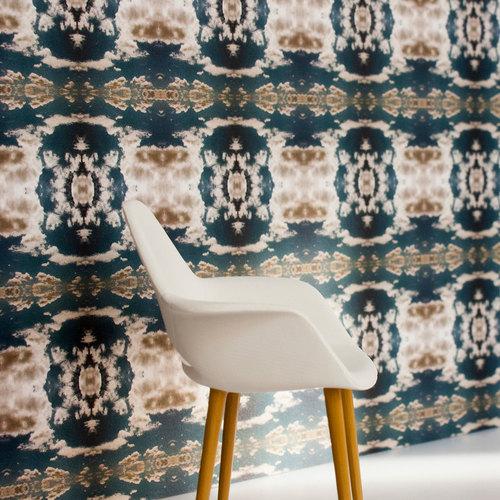 Cloud Rococo Wallpaper Moody Blue