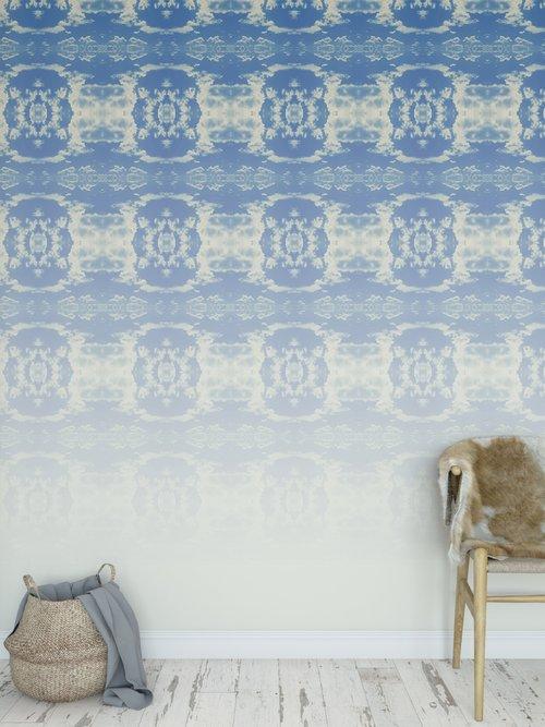 Cloud Rococo Ombre Wallpaper Panels Happy Blue