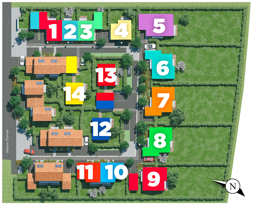 Plan de masse avec maisons numérotées