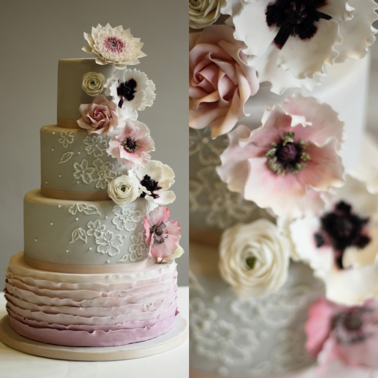 Four Tier Ruffle, Anemone and Rose Wedding Cake