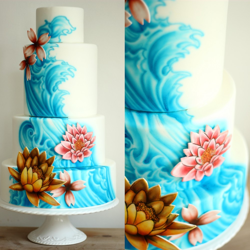 Airbrushed Tattoo Wave and Lotus Flower Wedding Cake