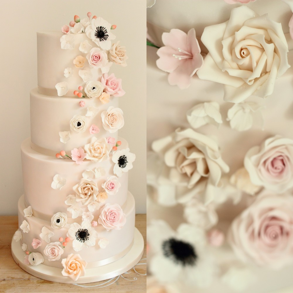 Contemporary Pink Floral Cascade Wedding Cake