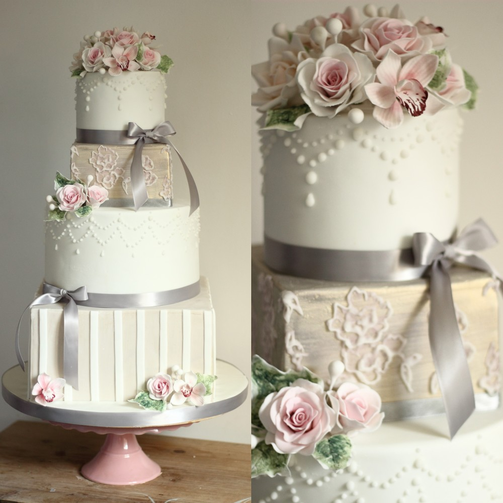 Winter Contemporary Rose 4 Tier Wedding Cake
