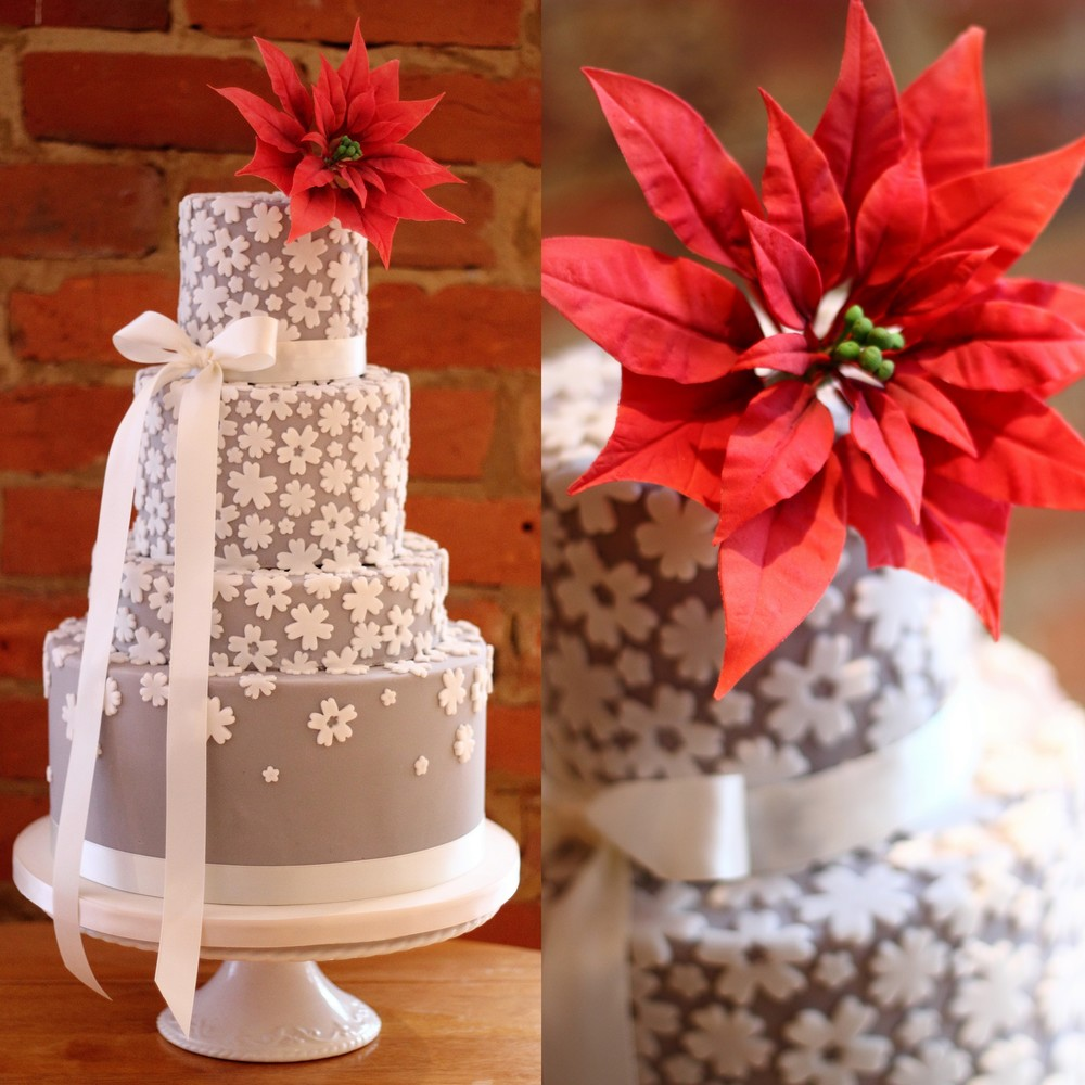 Poinsettia and Blossom Four Tier Wedding Cake