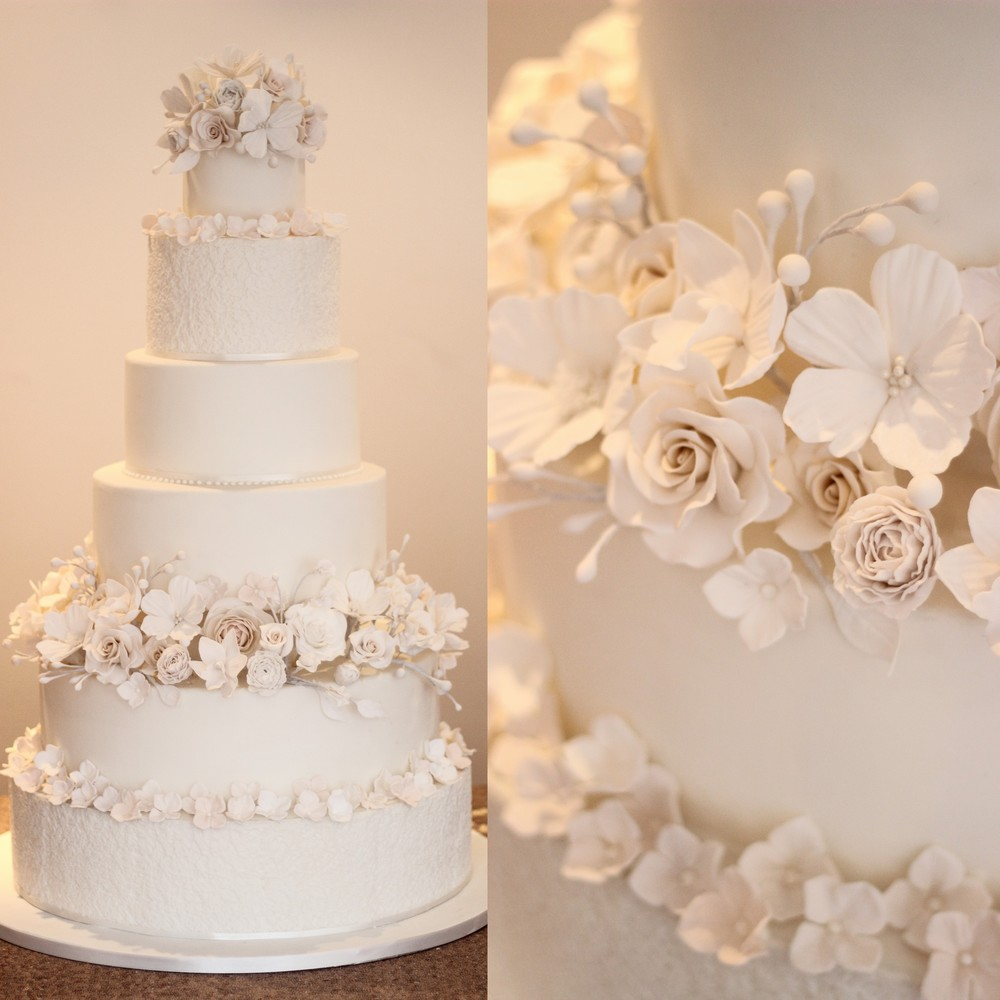 Luxury Ivory & White grand wedding cake