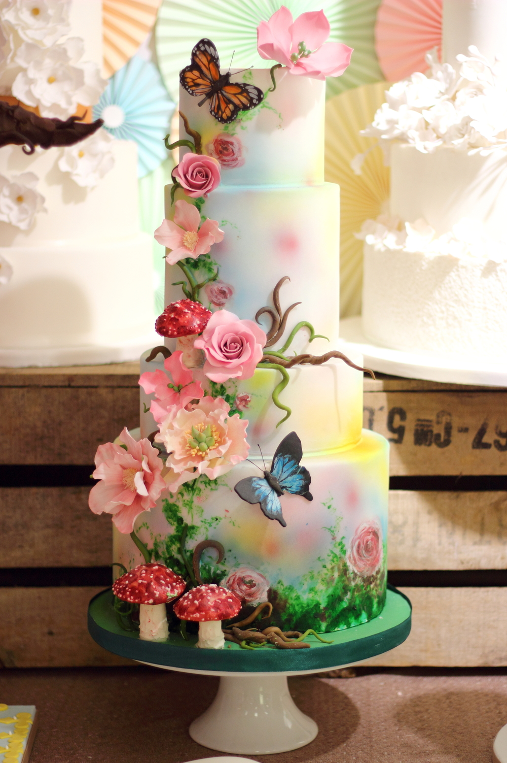 Woodland floral 4 tier Wedding Cake