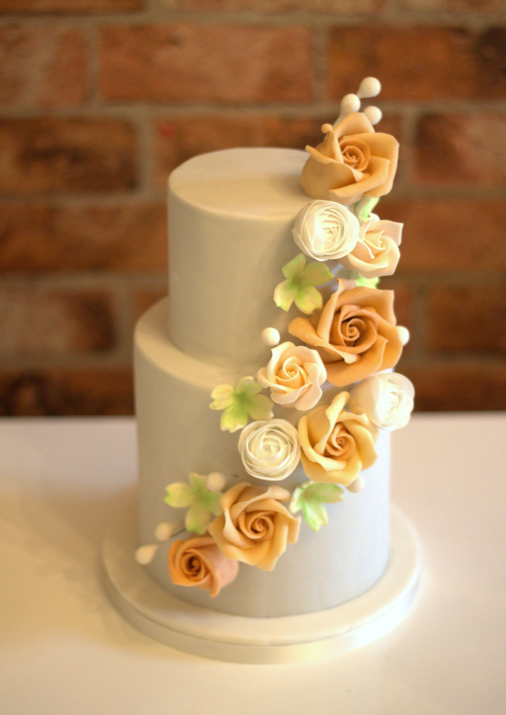 2 Tier Grey floral cascade wedding cake