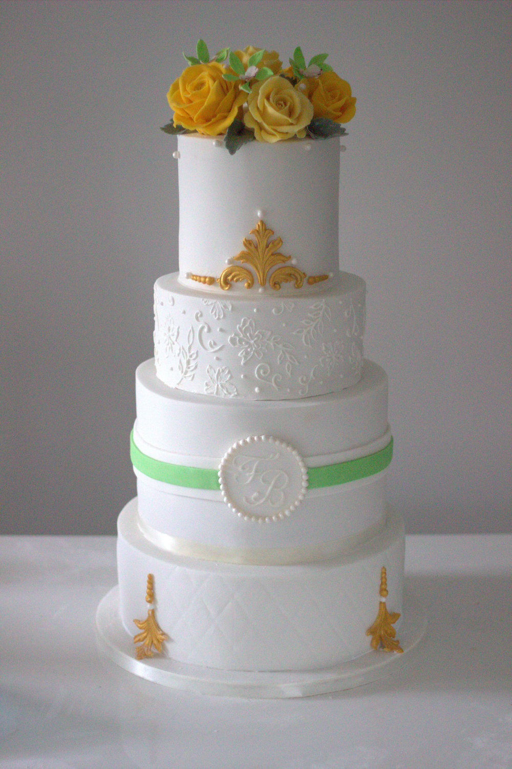 Gold & Green Floral Wedding Cake