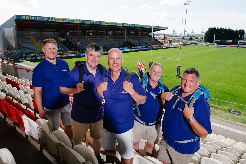 """Team Kili"" members, from left, Iain Morrison, Brian Gilliland, Jonathan Leafe, Andy Allenby and Nic Marshall launch the Kilimanjaro challenge at the Lightstream Stadium, home of Hull Kingston Rovers."