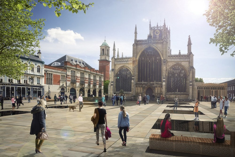 A computer-generated image of the redeveloped Trinity Square, with rejuvenated Holy Trinity Church at its heart.