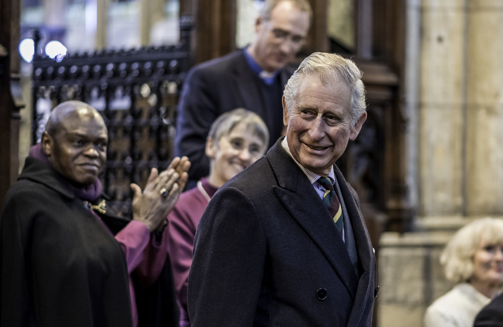 The Archbishop of York, Dr John Sentamu, leads the applause for the Prince of Wales with the Bishop of Hull, the Rt Rev Alison White, and the Vicar of Holy Trinity, the Reverend Canon Dr Neal Barnes, also showing their appreciation.